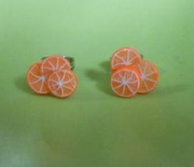 Orange Slice Earring Studs