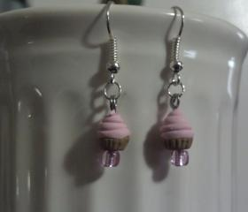 Light Pink Miniature Cupcake Earrings