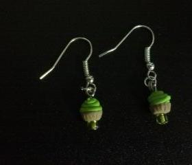 Lime-Green Miniature Cupcake Earrings
