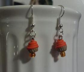 Orange Miniature Cupcake Earrings